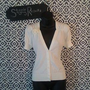 LOFT white short sleeve button up Cardigan medium